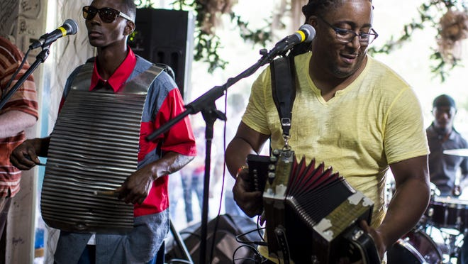 JJ Caillier and the Zydeco Knockouts perform for Zydeco Brunch at Cafe des Amis in Breaux Bridge.