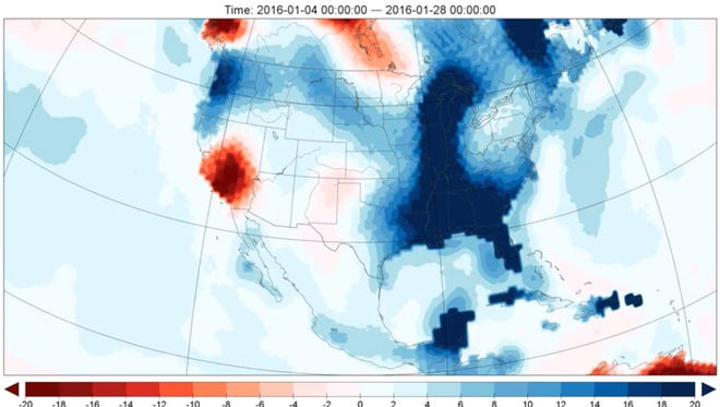 What a difference four months makes. The red in the graphic at left shows water deficits measured by NASA satellites Sept. 1. The blue in the graphic at right shows surpluses by Jan. 4.