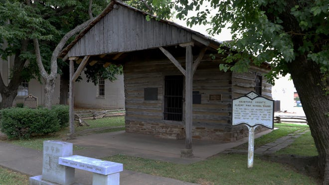 The Albert Pike School House on the Crawford County Courthouse square in Van Buren, Arkansas.