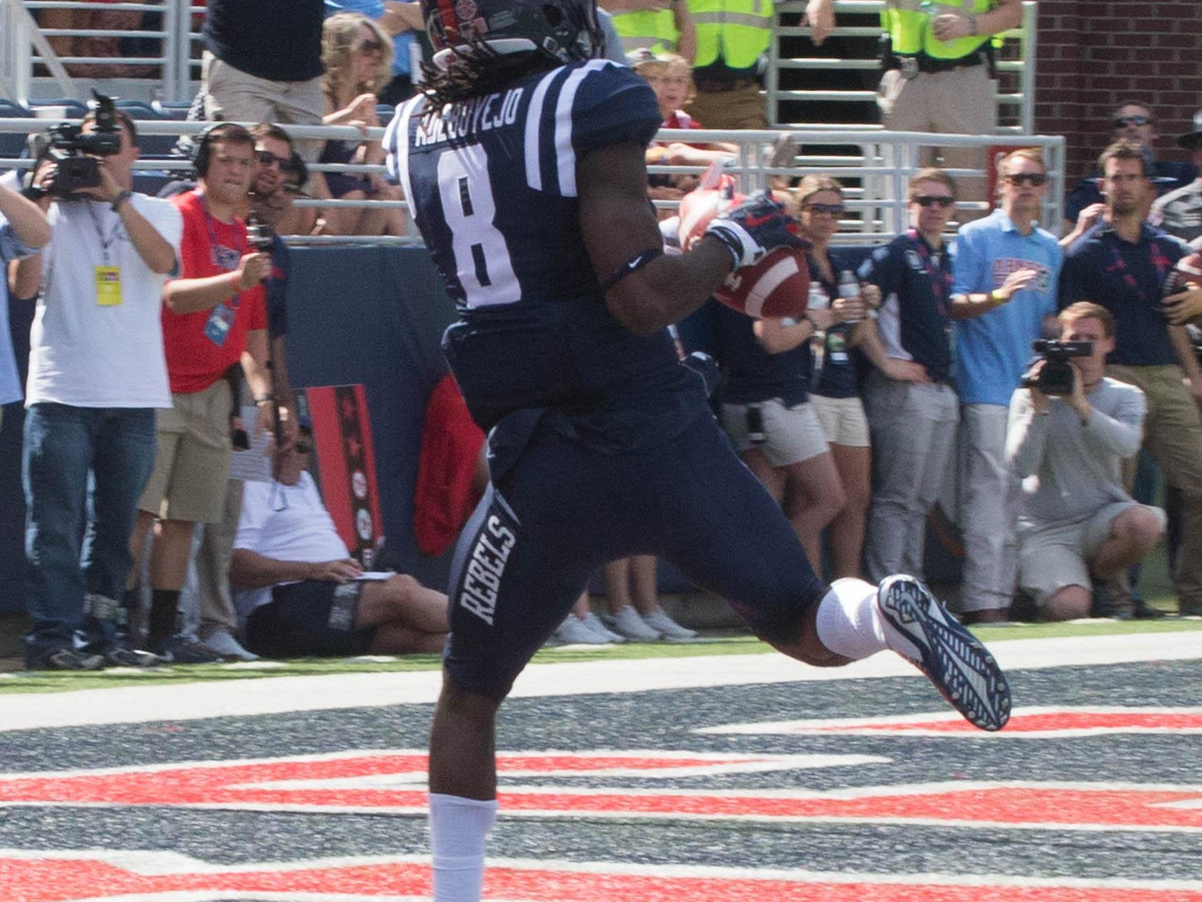 Quincy Adeboyejo lands a 44 yard pass from Chad Kelly for a touchdown.