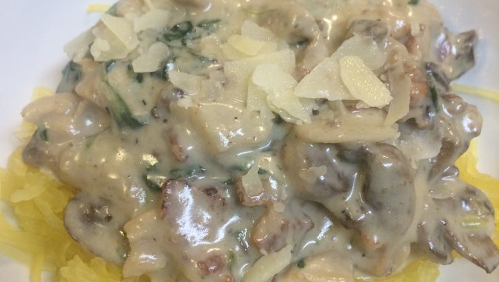 Spaghetti squash offers a healthy foundation for a flavorful mushroom sauce.