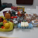 These items represent a week's food supply for a family of four.