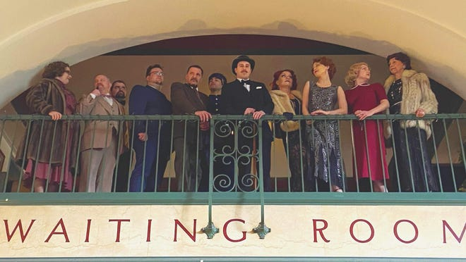 "The cast of ""Murder on the Orient Express"" took advantage of old-time train-themed decor at The Brewerie at Union Station for this photo in February. The show was put on by All An Act Theatre Productions, 652 W. 17th St., which is seeking donations to get it through the pandemic."