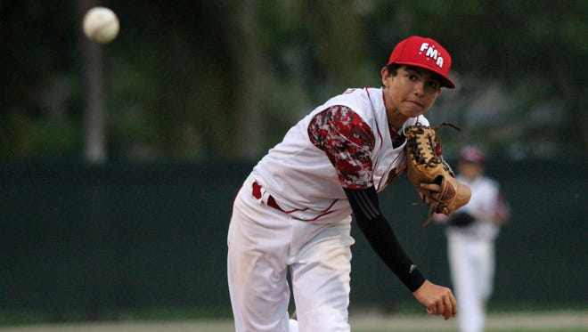 Fort Myers American pitcher Sebastian Genter pitches during the District 9 championship game against Buckingham Monday night at DeLeon Park.
