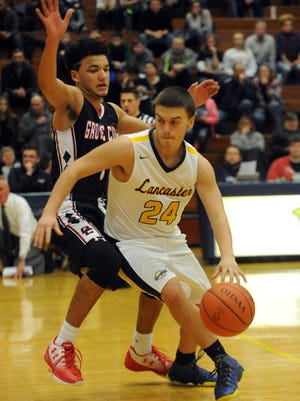 Lancaster's Austin Gootee, pictured in a game earlier this season, scored a career-high 18 points to help lead the Golden Gales to a 65-63 upset win over DeSales on Tuesday.