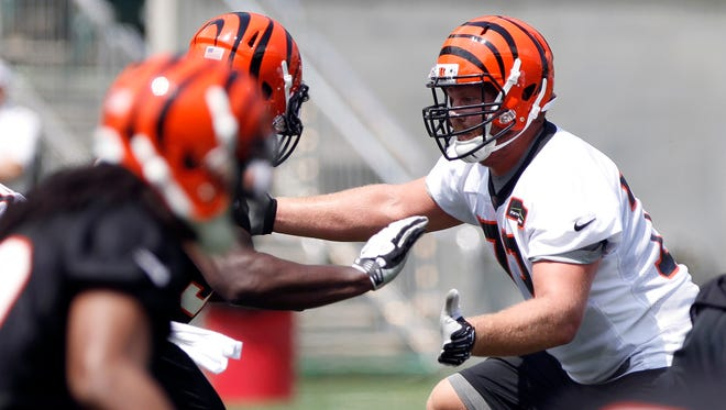 Tanner Hawkinson  ined up next to Andrew Whitworth as the first-team guard during OTAs.