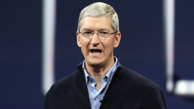Apple CEO Tim Cook speaks during an Apple event in San Francisco on March 9.