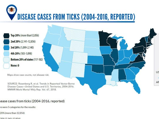 Tick disease case map detail taken from the Centers for Disease Control and Prevention website.