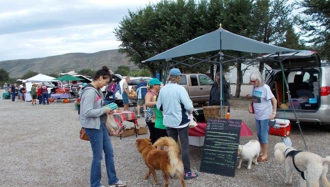 Shopping last weekend at the Ruidoso Downs Farmers and Artisans Market were Dena Coehlo of Coehlo Natural Farm in  Nogal, Nina Grunseth, Trina  Nunnally and Maryah Romans.