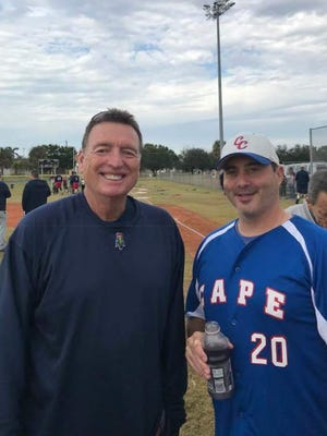 Former MLB pitcher Eric Rasmussen, left, is pictured with Chris Risola, president of the Cape Coral Cal Ripken Baseball program, at Pelican Field.  Rasmussen's has Ras' Room Baseball' is a popular training site with youth baseball players.