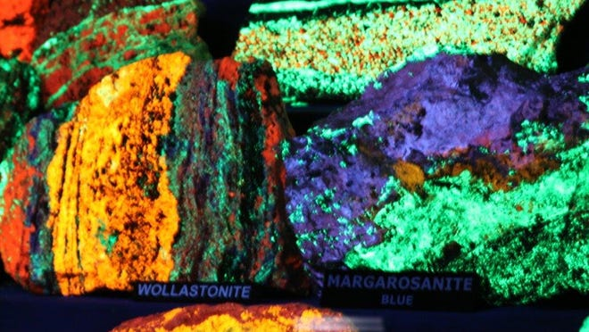 Within its Fluorescent Room, the Franklin Mineral Museum offers an extensive display of minerals that fluoresce a variety of colors under short-wave ultraviolet lamps.