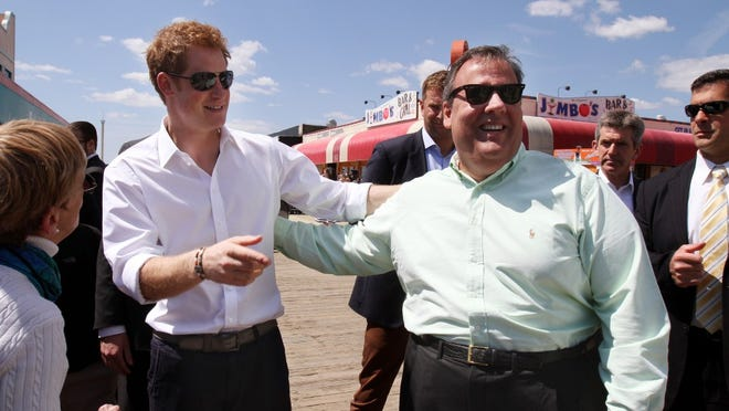 Prince Harry and Gov. Chris Christie greet local heroes during Prince Harry's tour of the Sandy damage on the Seaside Heights and Casino Pier, Tuesday, May 14, 2013.  Staff photo Tanya Breen