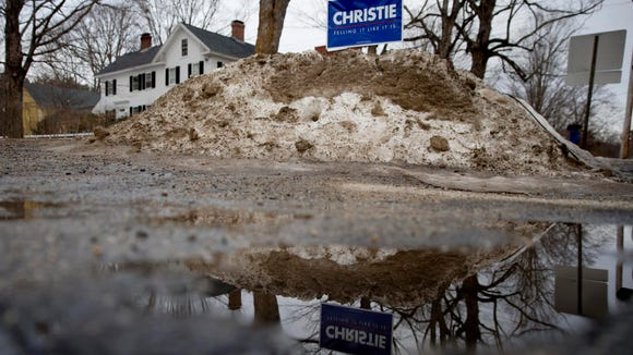 A sign for Republican presidential candidate, New Jersey Gov. Chris Christie is posted in the snow before an event Monday, Feb. 1, 2016, in Hopkinton, N.H. (AP Photo/Matt Rourke)