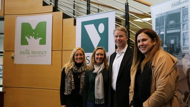 From left: Milk Money co-founders Louisa Schibli and Janice Shade, VSECU CEO Rob Miller and Vermont Department of Economic Development Commissioner Joan Goldstein attend Wednesday's announcement of a partnership.