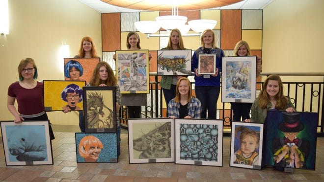 The Aspirus Volunteers are pleased to announce the winners for this year's STAR (Student Talent Art Review) program. All students this year are from Merrill High School. The Student Talent Art Review is an annual art contest for local high school students, presented by the Aspirus Volunteers. The Aspirus Volunteers submit a letter to local high schools calling for entries to submit. The top three winners are selected by the aesthetics committee and scholarships are awarded to these winners. All of the winning artwork is professionally framed and displayed in the main lobby of the hospital for a period of one year. As pictured in the front row are Erin Lemke, third place and honorable mention, Alyssa Hardrath, second place and honorable mention, Alyssa Merkel, honorable mention, and Serena Helman, honorable mention. As pictured in the back row are Elizabeth Schmidt, honorable mention, Bailey Iwen, honorable mention, Zoe Slewitzke, first place, Tori Folz, honorable mention, and Katelyn Nelson, honorable mention. Missing from the picture is Brooklyn Buckholt.
