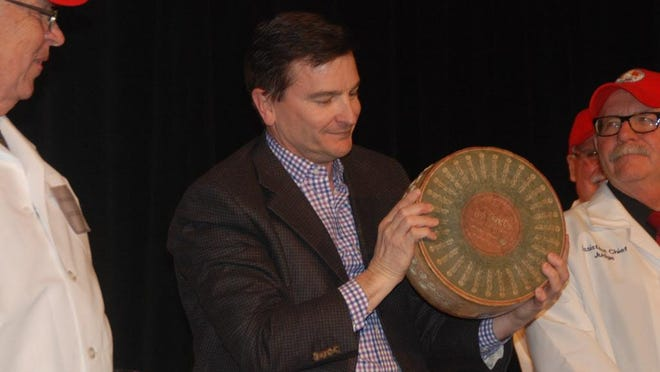 Tim Omer, Emmi Roth USA's president and managing director, celebrated his company's win in the World Championship Cheese contest in Madison last year.