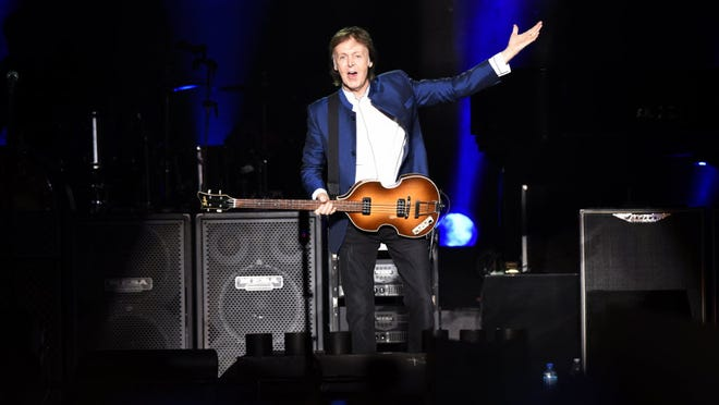 """Paul McCartney performing at MetLife Stadium on Sunday, Aug. 7, 2016, during his """"One on One"""" tour."""