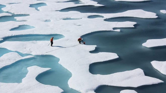 The total volume of Arctic sea ice in the summer has declined by 75 percent over the past 50 years.