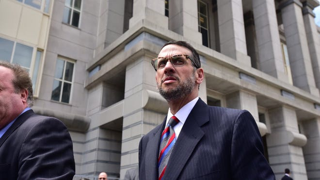 Longtime Christie ally David Wildstein leaving federal court in Newark in May 2015, after pleading guilty in the George Washington Bridge lane-closing scandal.
