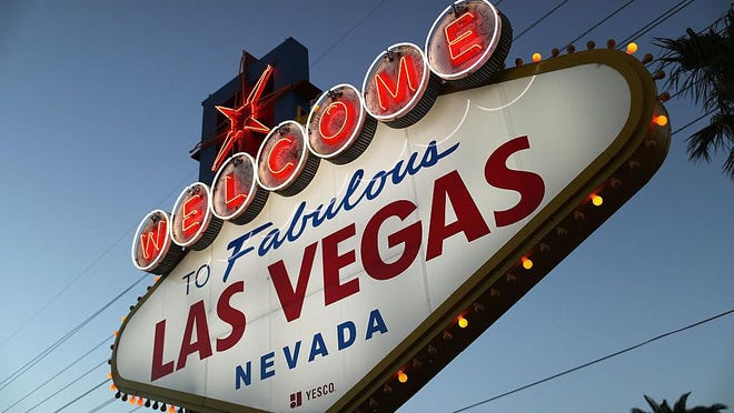 A Welcome to Las Vegas sign is seen in October, 2016.
