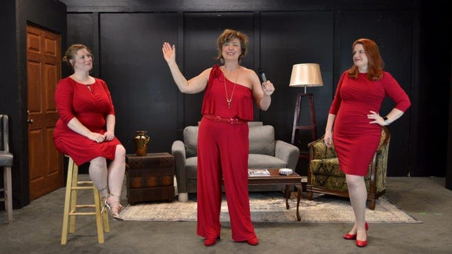 """Michelle Nickens, center, plays a faith healer named Sister Sunny when Bev DeMello's """"Prisoners of Hope"""" opens on Friday at The Studio Theatre at Theatre Tallahassee."""