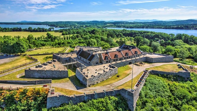 Aerial photo of Fort Ticonderoga with Lake Champlain and Vermont in the background.