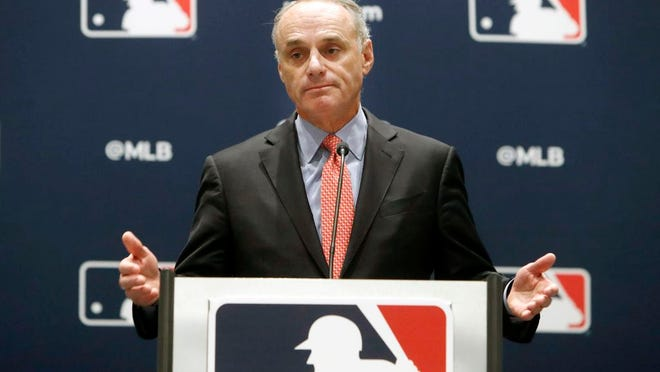 From Nov. 21, 2019, baseball commissioner Rob Manfred speaks to the media at the owners meeting in Arlington, Texas. Major League Baseball rejected the players' offer for a 114-game regular season in the pandemic-delayed season with no additional salary cuts and told the union it did not plan to make a counterproposal, a person familiar with the negotiations told The Associated Press. The person spoke on condition of anonymity Wednesday, June 3, 2020, because no statements were authorized.