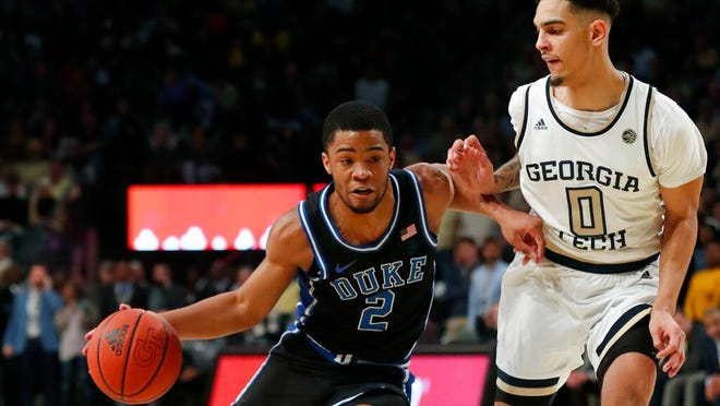 Duke guard Cassius Stanley (2) drives as Georgia Tech guard Michael Devoe (0) defends in the second half of an NCAA college basketball game Wednesday, Jan. 8, 2020, in Atlanta. Duke won 73-64.