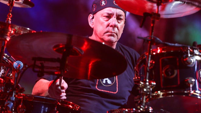 Neil Peart of Rush performs during the final show of the R40 Tour in Los Angeles on Aug. 1, 2015.