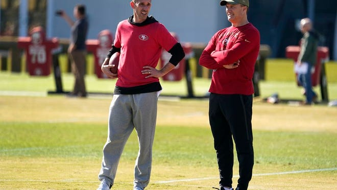 San Francisco 49ers general manager John Lynch, right, and head coach Kyle Shanahan, left, watch as players practice at the team's NFL football training facility in Santa Clara, Calif., Friday, Jan. 24, 2020. The 49ers will face the Kansas City Chiefs in Super Bowl 54.