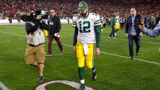 Green Bay Packers quarterback Aaron Rodgers leaves the field after their loss against the San Francisco 49ers in the NFL NFC Championship football game Sunday, Jan. 19, 2020, in Santa Clara, Calif. The 49ers won 37-20 to advance to Super Bowl 54 against the Kansas City Chiefs.