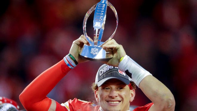 Kansas City Chiefs' Patrick Mahomes celebrates with the Kansas City Chiefs after the NFL AFC Championship football game against the Tennessee Titans Sunday, Jan. 19, 2020, in Kansas City, MO. The Chiefs won 35-24 to advance to Super Bowl 54.