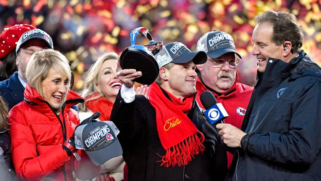 Norma Hunt, left, and her son Clark Hunt, center, owners of the Kansas City Chiefs, and Kansas City Chiefs head coach Andy Reid, second right, celebrate after the NFL AFC Championship football game against the Tennessee Titans Sunday, Jan. 19, 2020, in Kansas City, MO. The Chiefs won 35-24 to advance to Super Bowl 54.