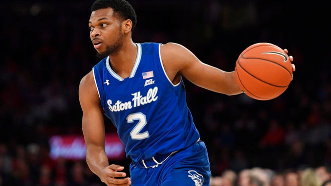 Seton Hall guard Anthony Nelson (2) dribbles the ball during the first half of an NCAA basketball game against St. John's in New York, Saturday, Jan. 18, 2020.