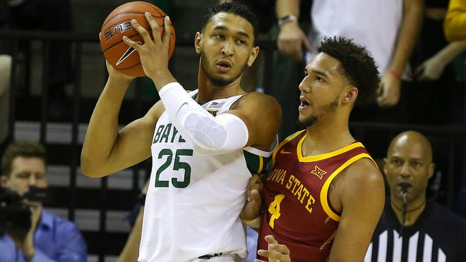 Baylor forward Tristan Clark (25) is guarded by Iowa State forward George Conditt IV (4) during the second half half of an NCAA college basketball game Wednesday Jan. 15, 2020, in Waco, Texas.