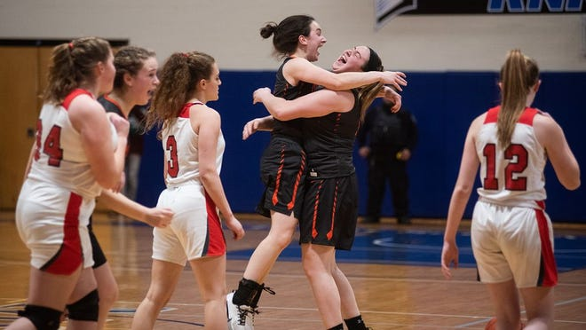 Marlboro players celebrates their win over Onteora during the Section 9 Class B girls basketball championship game at Mount Saint Mary College in Newburgh, NY on Friday, March 6th, 2020.