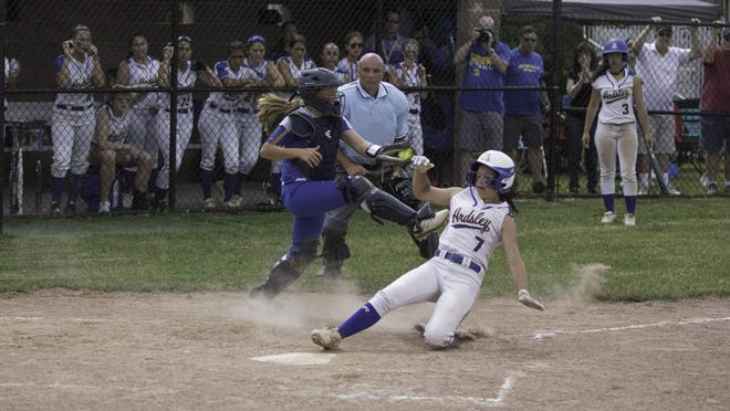 Ardsley and Rondout Valley compete in a 2019 state softball playoff game.