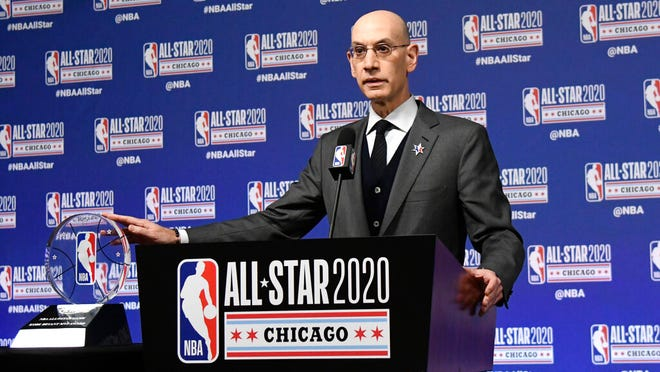 NBA Commissioner Adam Silver unveils the NBA All-Star Game Kobe Bryant MVP Award during a news conference Saturday, Feb. 15, 2020, in Chicago.