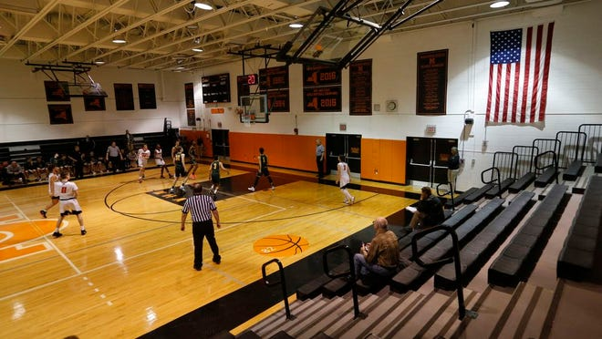 Marlboro and Hastings play during the Class B state first-round game on March 11, 2020. Due to coronavirus concerns the game was played without spectators.