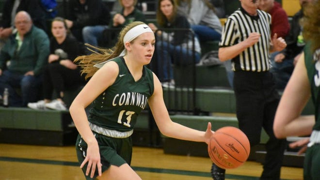 Brooke Zimmer of Cornwall dribbles the ball against Maine-Endwell in a state Class A first-round playoff at Vestal High School on Wednesday, March 11, 2020.