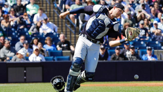 Detroit Tigers catcher Grayson Greiner loses control of a foul tip by New York Yankees' Gary Sanchez during the second inning of a spring training baseball game Saturday, Feb. 29, 2020, in Tampa, Fla..
