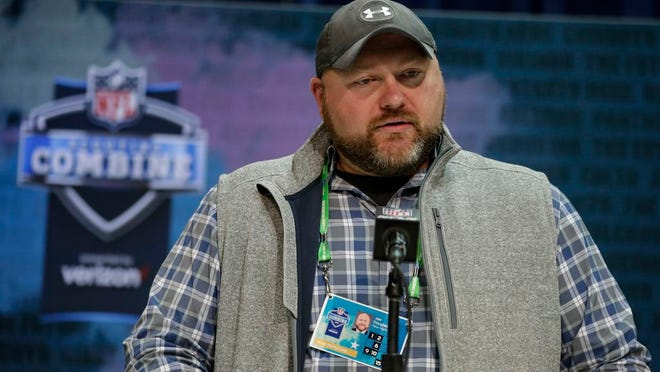 New York Jets general manager Joe Douglas speaks during a press conference at the NFL football scouting combine in Indianapolis, Tuesday, Feb. 25, 2020.