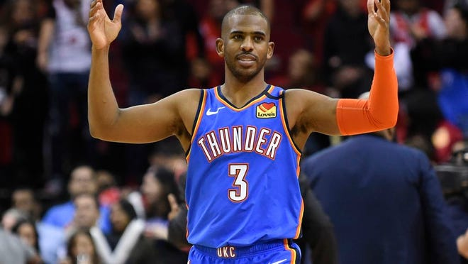Oklahoma City Thunder guard Chris Paul reacts after the team's win in an NBA basketball game against the Houston Rockets, Monday, Jan. 20, 2020, in Houston.
