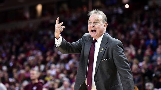 Mississippi State coach Vic Schaefer shouts at an official during the first half of an NCAA college basketball game against South Carolina Monday, Jan. 20, 2020, in Columbia, S.C.