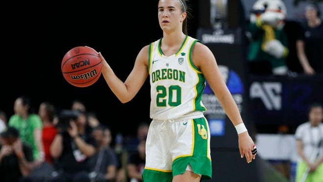 Oregon's Sabrina Ionescu (20) plays against Stanford during an NCAA college basketball game in the final of the Pac-12 women's tournament Sunday, March 8, 2020, in Las Vegas.
