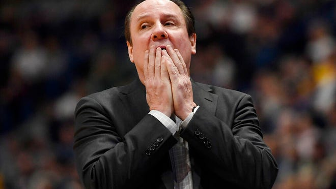 From Jan. 12, 2020,  Wichita State head coach Gregg Marshall reacts in the second half of an NCAA college basketball game against Connecticut, in Hartford, Conn. Marshall learned how to build a basketball team while on the staff of Hall of Fame coach John Kresse at College of Charleston. Many of those lessons have helped Marshall become Wichita State's winningest coach. But many have lost their value, and the reason is simple: The NCAA transfer portal has forced coaches to build teams rather than programs.