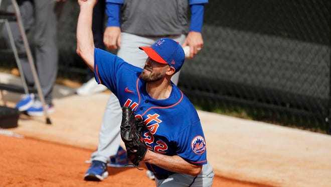 New York Mets pitcher Rick Porcello throws during spring training baseball practice Saturday, Feb. 15, 2020, in Port St. Lucie, Fla.