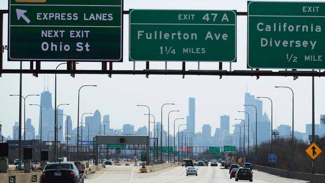 More traffic than usual on I-90 highway south bound in Chicago, Saturday, April 11, 2020. Data may show the number of COVID-19 cases in Illinois is growing at a slower pace than some projections had forecast, but Gov. J.B. Pritzker said his stay-at-home order will remain in place through the end of April.
