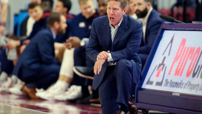 Gonzaga head coach Mark Few yells out during the first half of an NCAA college basketball game against Loyola Marymount in Los Angeles, Saturday, Jan. 11, 2020.