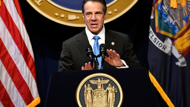 In this Jan. 8 photo, Gov. Andrew Cuomo delivers his State of the State address at the Empire State Plaza Convention Center in Albany.